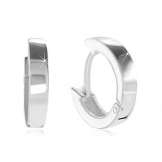 Bepattintós 925 ezüst fülbevaló - kicsi karikák, fényes és sima felület