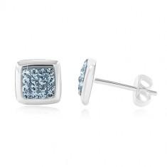 925 ezüst fülbevaló, fényes négyzet közepe kék cirkóniákból
