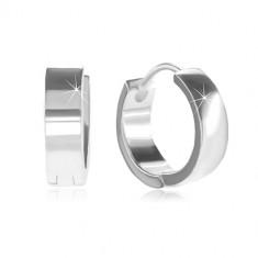 Bepattintós 925 ezüst karika fülbevaló, sima és fényes felület