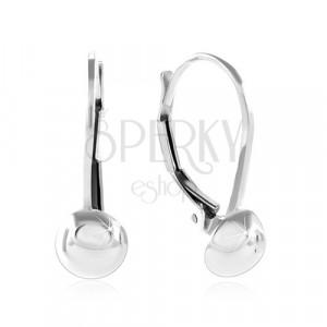 925 ezüst fülbevaló, fényes és sima félgömb, 6 mm