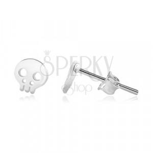 925 ezüst stekkeres fülbevaló - fényes koponya kivágásokkal