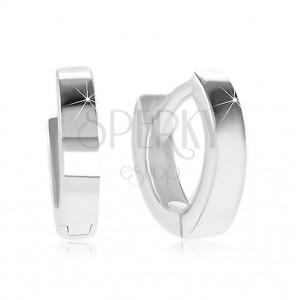 Bepattintós 925 ezüst fülbevaló - kicsi karika sima és fényes felülettel