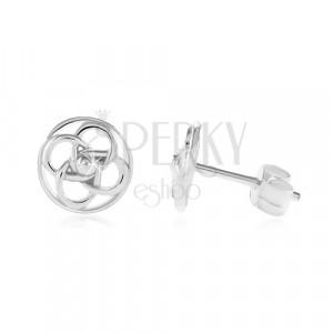 925 ezüst fülbevaló, keskeny karika kelta csomóval a közepén