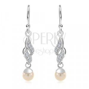 925 ezüst fülbevaló, két cirkóniás hullám, gömbölyű fehér gyöngy