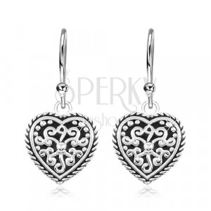 925 ezüst fülbevaló, szív fekete fénymázzal és ornamentumokkal