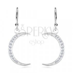 925 ezüst fülbevaló, keskeny holdsarló csillogó cirkóniákkal kirakva