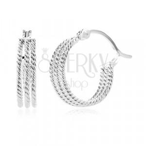 925 ezüst fülbevaló - három bordázott karika, 15 mm