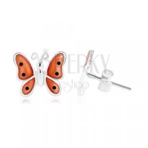 925 ezüst fülbevaló, pillangó narancssárga fénymázas szárnyakkal