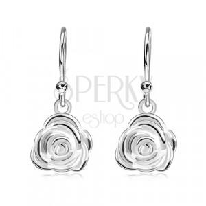 925 ezüst fülbevaló, afrikai horgokon függő kinyílt rózsa
