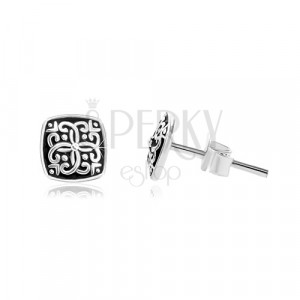 925 ezüst fülbevaló, négyzet ornamentumokkal és fekete patinával