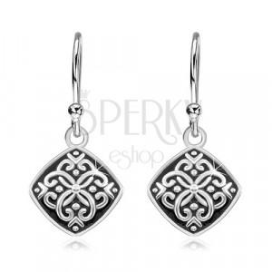 925 ezüst fülbevaló, rombusz fekete fénymázzal és ornamentumokkal