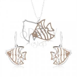 925 ezüst szett, halak kivágással ezüst és réz színben