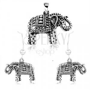 925 ezüst szett, fülbevaló és medál, fekete patinás gravírozott elefánt