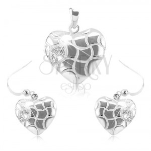 925 ezüst szett, fülbevaló és medál, szív hullámos vágatokkal és cirkóniákkal