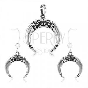 925 ezüst szett - fülbevaló és medál, nem teljes karika vágatokkal díszítve