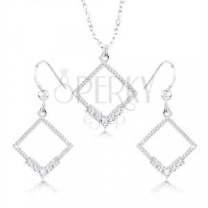 925 ezüst nyaklánc és fülbevaló szett - rombusz körvonala, átlátszó cirkóniák