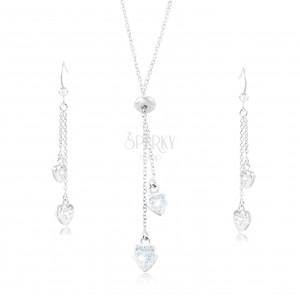 925 ezüst szett - nyaklánc és fülbevaló, átlátszó cirkóniás szívek láncokon
