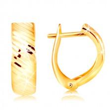 14K sárga arany fülbevaló - ív fényes ferde vágatokkal