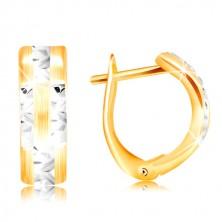 14K arany fülbevaló - matt ív csillogó fehér arany sávokkal