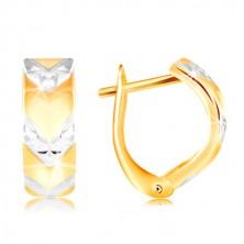 585 arany fülbevaló - fényes ív kétszínű V mintával