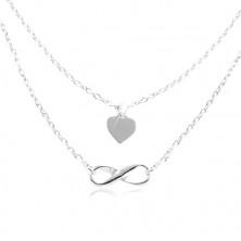 925 ezüst nyaklánc, kettős lánc, szív és végtelen szimbólum