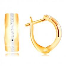 585 arany fülbevaló - csiszolt fehér arany sáv sima íven