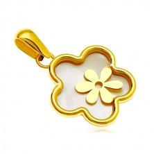 14K arany medál - virág gyöngyház középpel és kisebb virággal