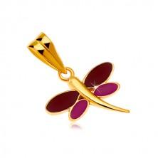 14K arany medál - szitakötő bordó és lila fénymázzal a szárnyain
