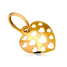 585 arany medál - fényes domború szív apró szív alakú vágatokkal