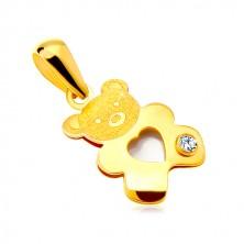 585 arany medál - medve gyönygház szívvel és átlátszó cirkóniával