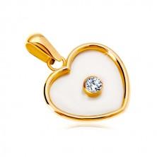 14K sárga arany medál - szív gyöngyház középpel és átlátszó cirkóniával