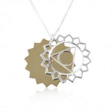925 ezüst nyaklánc, kétszínű nap kivágásokkal, csillogó vágatok