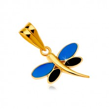 585 sárga arany medál - szitakötő kék és fekete fénymázzal a szárnyain