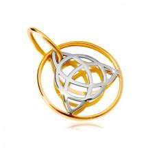 14K arany medál - kétszínű kelta csomó keskeny karikában