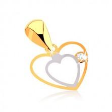 9K arany medál - két keskeny szív körvonala, átlátszó cirkónia