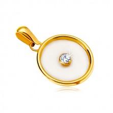 14K sárga arany medál - kör gyöngyház középpel és átlátszó cirkóniával