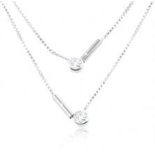 925 ezüst nyaklánc, kettős lánc, kerek átlátszó cirkóniák és pálcikák