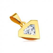 14K sárga arany medál - gyémánt sziluettje, átlátszó cirkónia