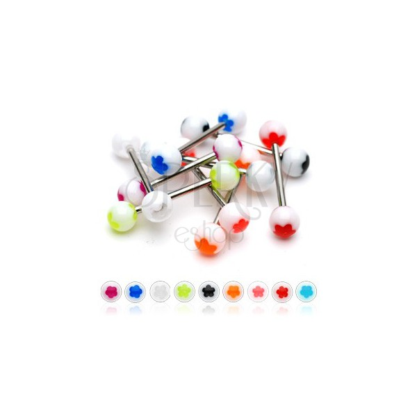 Nyelv piercing - fehér golyócska, színes virágok