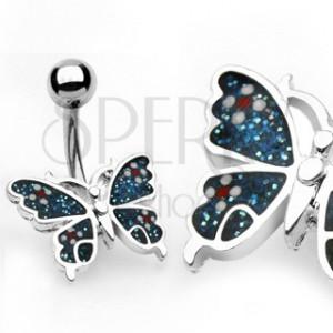 Köldök piercing - virágos pillangó