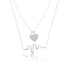 3fcaac16d4 925 ezüst nyaklánc, kettős lánc, szív és hullám