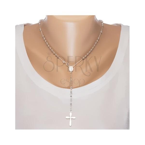f218e611b 925 ezüst rózsafüzér - golyók, Szűz Mária érem, kereszt Jézussal ...