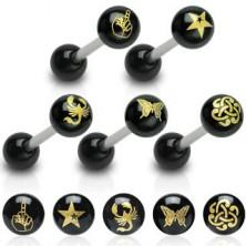 Nyelv piercing - fekete golyócska, arany motívumok