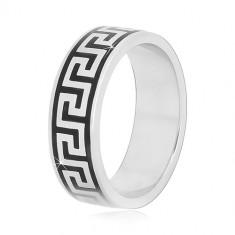 06f9691f51 925 ezüst karikagyűrű fekete görög kulcs mintával, 6 mm