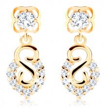 585 sárga arany fülbevaló - spirális és ív csillogó gyémántokkal