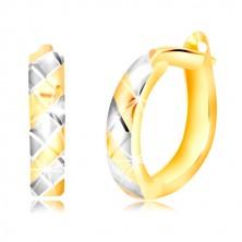 14K arany karika fülbevaló ferde sárga-fehér sávokkal és vágatokkal