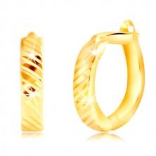 585 sárga arany ovális alakú fülbevaló keskeny ferde vágatokkal