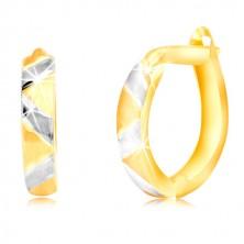 14K kombinált arany fülbevaló matt cikk-cakkos mintával