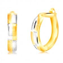 Ovális alakú 14K arany fülbevaló kétszínű téglalap mintával