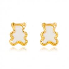 Stekkeres 14K sárga arany fülbevaló természetes gyöngyházzal - medve